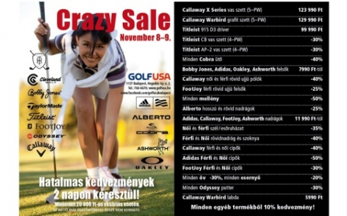 CRAZY SALE a Golf USA-ban!